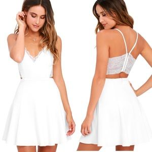 Lulu's Perfect Evening Ivory Lace Skater Dress